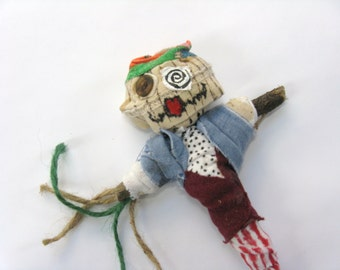 Voodoo Doll with Hat, Whimsical or Naive Art, Ex Boyfriend Doll, Office Party Gift, Novelty Handmade poppet, Folk Art Figure, Pin Doll