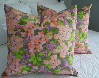 Set of 2 Pillow covers. Floral pillow covers. Purple. cream.grey. pillow covers.Summer PIllows.Spring Pillows.Slip Covers