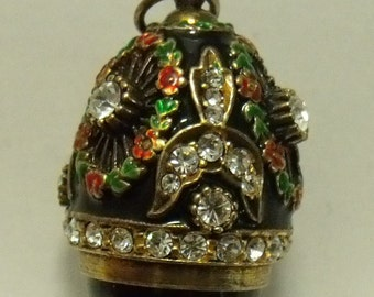 Russian Faberge Style Jeweled and Gem Stone Silver Egg Pendant