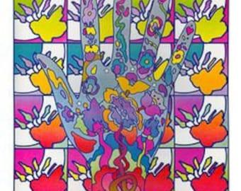 Peter Max Psychedelic Hands Pop Framed Art Print