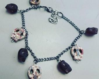 Dia de los muertos, day of the dead, Sugar skulls, Sugar skull charm bracelet, dia de los muertos bracelet, day of the dead bracelet