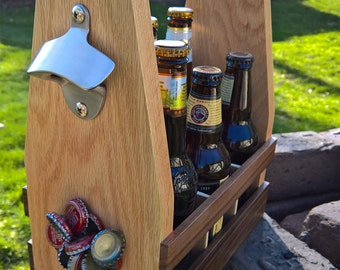 Beer Caddy | Six Pack Beer Carrier with Magnetic Cap Catch - Additional Engraving or Personalization