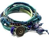 Leather Wrap Bracelet - Bohemian Wrap Bracelet - Navy Teal Sage Herringbone Wrap Bracelet - 5 Wrap Bracelet - Beaded Leather Wrap
