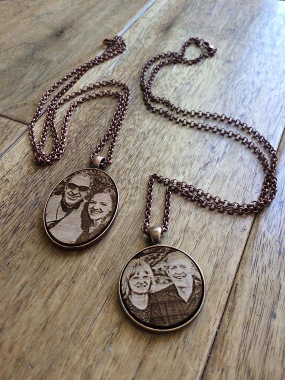 set of 2 photo engraved necklaces custom laser engraved