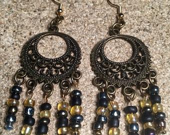 Boho dangle sea bead earrings