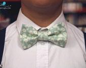 mint floral bowtie, bow tie, bowtie men, boy bowtie, adult bowtie, back to school bowtie, pastel bowtie, floral bowtie, adjustable bowtie