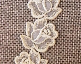 Vintage lace applique embellishment, 3 roses, rose lace motif, lace motif, lace embellishment