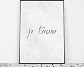 Romantic Gift, French Print, Romantic Print, Love Print, French Poster, French Print Je T'aime, I Love You Print, Printable Art Love Art