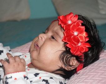 Tripple red flower headband