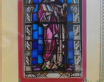 Handmade beautiful 3d colorful stain glass window print Holy Communion card