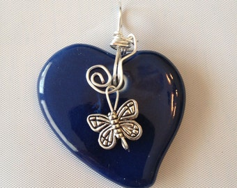 Blue heart with butterfly