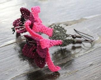 HUGE SALE 25% OFF Secrecy Dangle Earrings - Handmade Needlework Oya