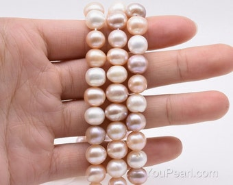 8mm multicolor pearls, freshwater natural colorful pearl bead, large pearl hole available to 2.5mm, fresh water potato loose pearl, FP570-MS