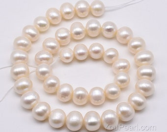 Large hole pearl, freshwater loose pearls, 10-11mm natural potato pearl beads, various pearl hole size available, full strand, FP720-WS