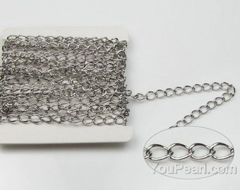 Sterling 925 silver chain, Beveled curb chain, silver jewelry findings, chain findings for bracelet or necklace making, 1 foot, SC2010