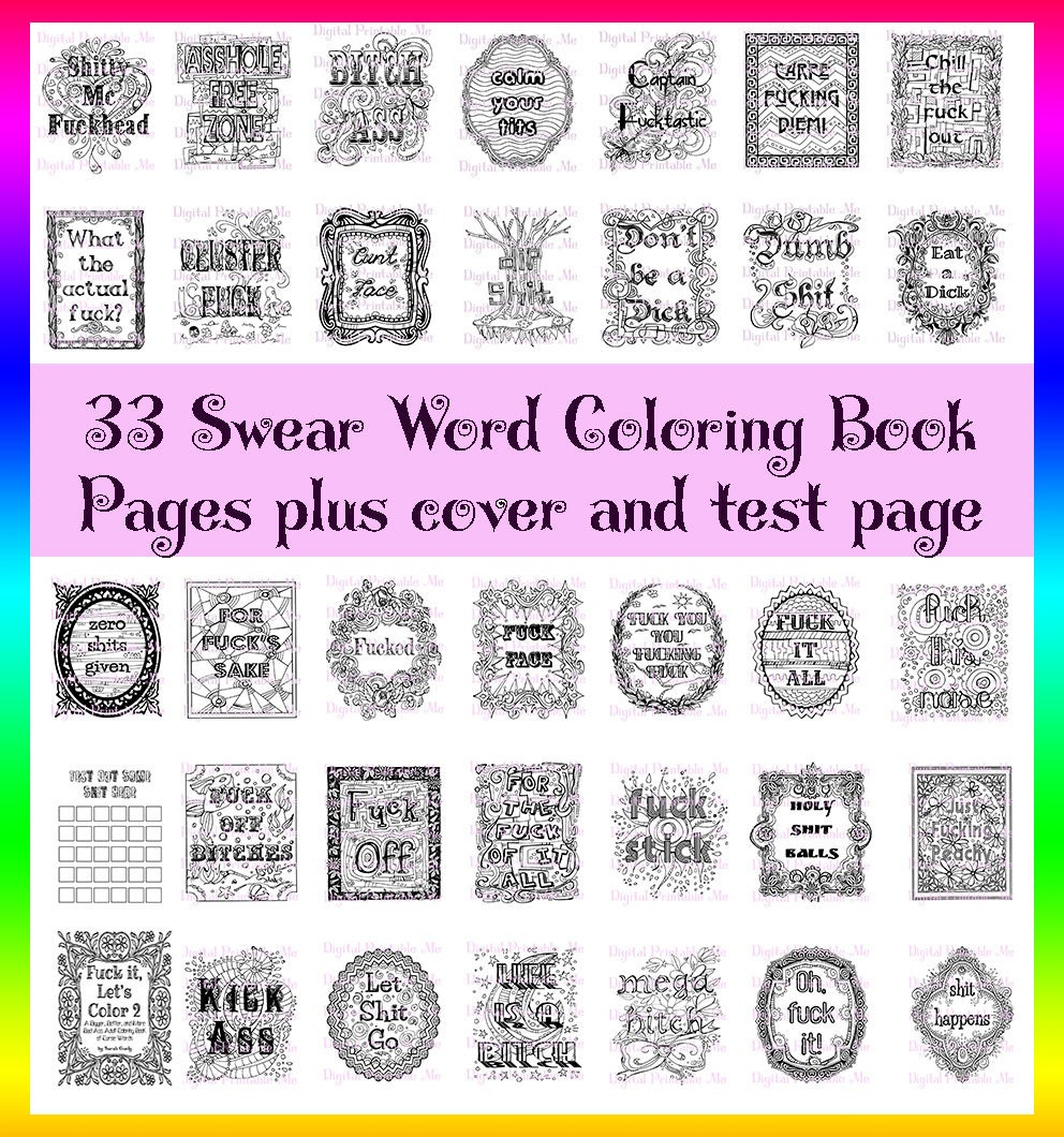 Swear Word Coloring Book Printable Instant By