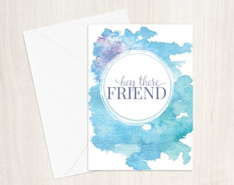 Hey There - Blue Greeting Card