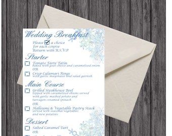 Wedding Breakfast Menu Inserts