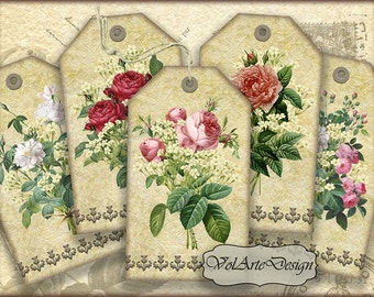 Roses gift tags - digital collage sheet - printable download - set of 10