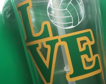 Customizable tumbler clear with straw - double wall - I love....