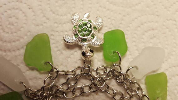 Green sea glass White sea glass turtle charm bracelet. Sea glass bracelet. Hawaii sea glass