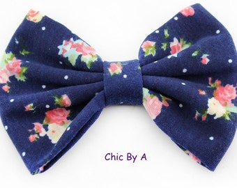 """Blue,Light Blue,Beige,Perfectly 5"""" Floral,Chic,European,Floral Printed Cotton Bow,Vintage Floral Hair Bow,Bow Tie,Baby,Girls,Toddler"""