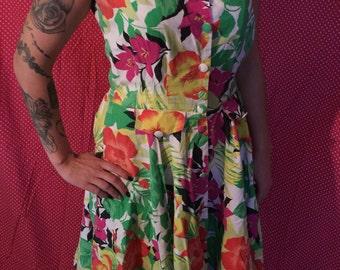 Dress vintage 60s floral style tiki Hawaii