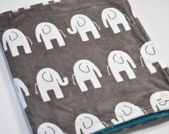 Personalized Baby blanket with name-Elephant Baby Blanket-Minky baby blanket - Elephant baby minky blanket - Grey White elephant blanket