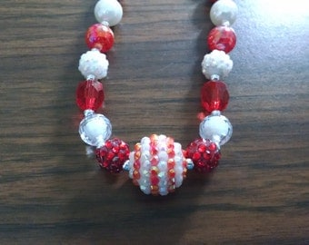 Candy Cane inspired Toddler Bubblegum Necklace