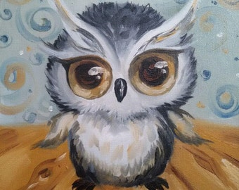 Little owl painting. Oil painting.Gift. 25*25 cm