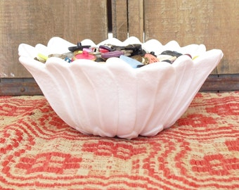 Vintage Milk Glass Scalloped Bowl, Flower and Leaves, Wild Rose and Leaves, Indiana Glass, Serving, Flower Vessel, Trinket Dish, Candy Dish