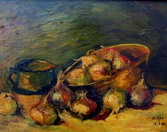 Onions oil painting,painted by Jacob ivgi