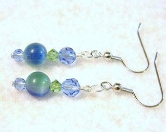 Fabulous Blue and Green Glass Bead Pierced Earrings Silver Tone