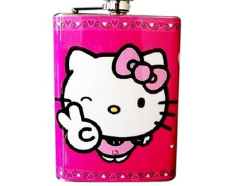 Hello Kitty Pink Flask Stainles Steel Liquor Alcohol Hip Drink Whiskey Vodka FH7