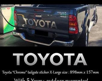 Chrome TOYOTA Tailgates Sticker 898x157 mm