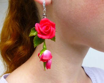 Rose earrings Dark pink earrings Long earrings Pink earrings Floral earrings Flower earrings Red earrings Gift for women Sister gift