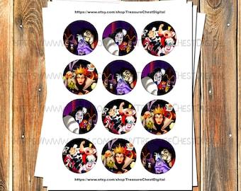50% OFF- Disney Villains Cupcake Toppers-2 inch-Party Favors-Disney Villains-Hook-Ursula-Evil Queen-Jafar-Cruella