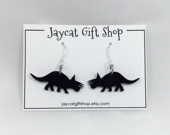 Triceratops Earrings, Dinosaur Earrings, Dino Earrings, Geeky Earrings, Nerdy Earrings