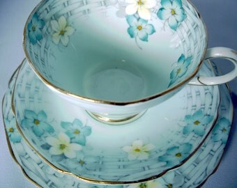 Pretty porcelain trio in duck egg green/blue