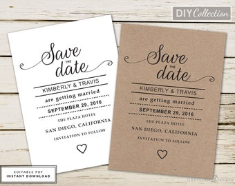 Kraft save date,DIY save date,Boho save date,Modern save date,Simple save date,Heart save date,Editable save date,Instant saved date, SD101