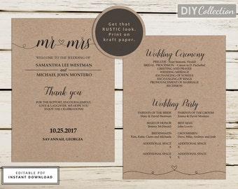 Rustic Printable Wedding Program Template, Kraft Program, Instant Download, Editable PDF, Double-Sided Program, 5x7, Mr & Mrs, #GD_WP104