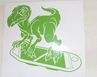 Raptor On A Hoverboard Decal
