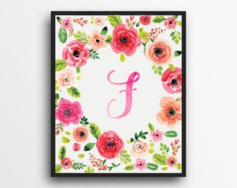Monogram Letter F Print | Floral Wreath Monogram | Initial Print | Watercolor Floral Print | Digital Download