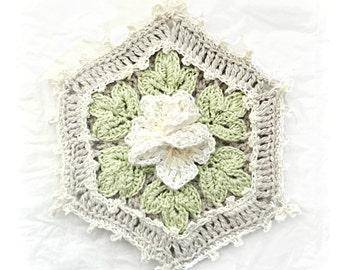 Jasmine Cottage Potholder, Crocheted Floral Potholder, Shabby Chic Decor Potholder