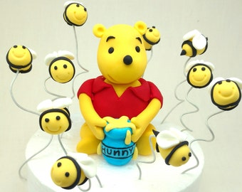 Winnie the Pooh Bear Cake Topper, Bumblebees and 'Hunny Pot' Birthday Fondant Set