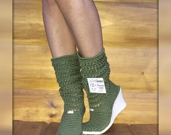 Summer crochet boots Hand knitted for adult