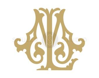 Digital Wedding Monogram - LM ML - Wedding Monogram, Vintage