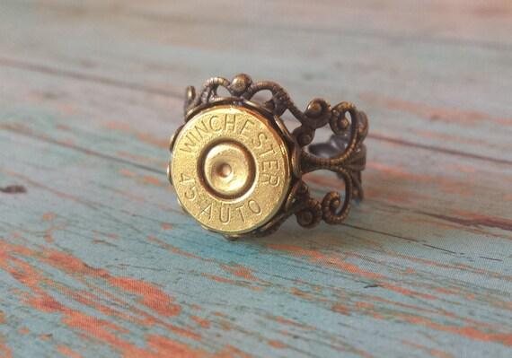 45 Auto Winchester Adjustable Filigree  Ring