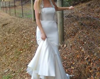 Satin Halter Neck Mermaid Wedding Gown