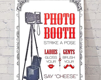 Wedding Decor photo booth sign A4 hanging sign Retro